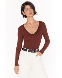 """Nasty Gal """"knit It Out V-neck Ribbed Sweater"""" - Red"""