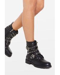 Nasty Gal Studded Lace Up Biker Boots - Black