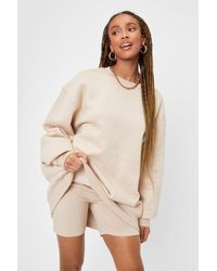 Nasty Gal Work It Out Oversized Crew Neck Sweatshirt - Natural