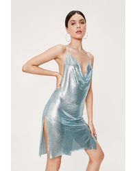 Nasty Gal Chainmail Cowl Neck Relaxed Mini Dress - Blue