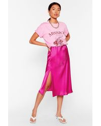 Nasty Gal Satin Slit Midi Skirt - Pink