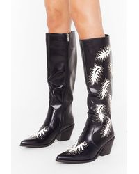 Nasty Gal Cowboy Take Me Away Faux Leather Knee High Boots - Black