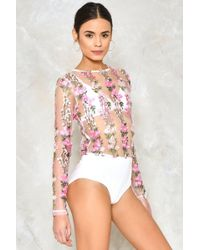Nasty Gal - April Showers Embroidered Bodysuit - Lyst