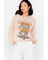 Nasty Gal Dragon Me Down Relaxed Graphic Sweatshirt - Multicolour