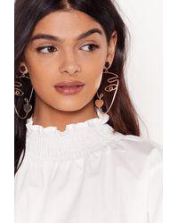 Nasty Gal Get Our Best Side Face Drop Earrings - Metallic