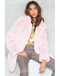"""Nasty Gal """"surfin' Bird Faux Fur Coat"""" - Multicolor"""