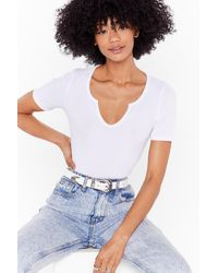 Nasty Gal Trying My West-ern Faux Leather Buckle Belt - White