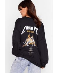 Nasty Gal We'll See You On The World Tour Graphic Sweatshirt - Black