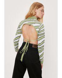 Nasty Gal Petite Zebra Print Tie Back Sweater - Green