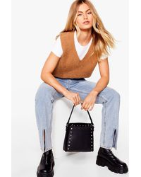 Nasty Gal Want Stud By You Faux Leather Tote Bag - Black