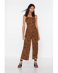 "Nasty Gal ""running Wild Animal Wide-leg Jumpsuit"" - Brown"