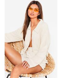 Nasty Gal Towelling Cropped Shirt And Shorts Cover-up Set - White