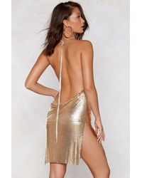 "Nasty Gal ""you've Got Chainmail Cowl Dress"" - Metallic"