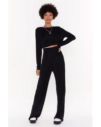 Nasty Gal Just The Two Of Us Crop Top And Wide-leg Trousers Set - Black