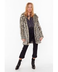 """Nasty Gal """"ain't Nothin' But A Houndstooth Faux Fur Coat"""" - Multicolour"""