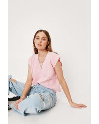 Nasty Gal Cable Knit Sleeveless V Neck Jumper Vest - Pink