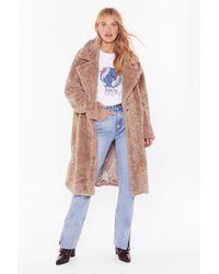 Nasty Gal Coat This Down Faux Fur Coat - Multicolour