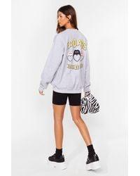 Nasty Gal Badass Babes Club Relaxed Graphic Sweatshirt - Grey