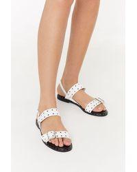 "Nasty Gal ""eyelet Buckle Flat Sandals"" - White"