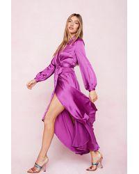 Nasty Gal Satin Wrap Long Sleeve Maxi Dress - Purple