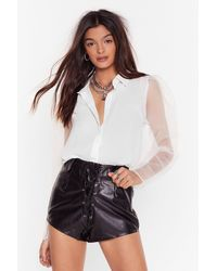 """Nasty Gal """"come Up Short Faux Leather Shorts"""" - Black"""