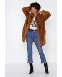 "Nasty Gal ""surfin' Bird Faux Fur Coat"" - Brown"