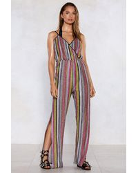 """Nasty Gal """"you're Doing Just Shine Striped Jumpsuit"""" - Pink"""