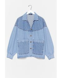 Nasty Gal Can't Quilt Your Love Oversized Denim Jacket - Blue