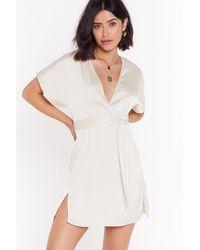 "Nasty Gal ""call In Slick Satin Mini Dress"" - White"