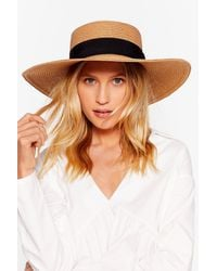 Nasty Gal Throwin' Shade Straw Boater Hat - Multicolour