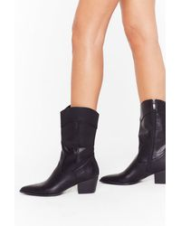 """Nasty Gal """"you're The West Faux Leather Heeled Boots"""" - Black"""
