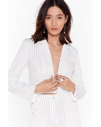 Nasty Gal Hollaback Girl Pinstripe Cropped Blazer - White