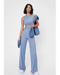 Nasty Gal Crop Top And Wide Leg Pants Set - Blue