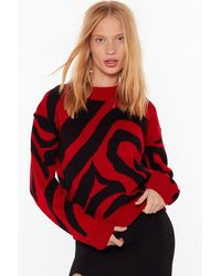 Nasty Gal You're A Real Animal Relaxed Sweater - Red