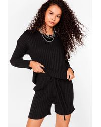 Nasty Gal Knit's All About You Sweater And Shorts Set - Black