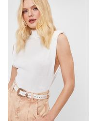 Nasty Gal Faux Leather Studded Western Belt - Blanc