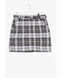 Nasty Gal Check Zip Front Mini Skirt - Green