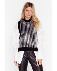 """Nasty Gal """"tell Us The Houndstooth Knitted Vest Top"""" - Black"""