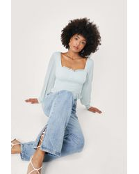 Nasty Gal Cupped Square Neck Textured Crop Top - Green