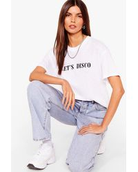 Nasty Gal Let's Disco Graphic T-shirt - White