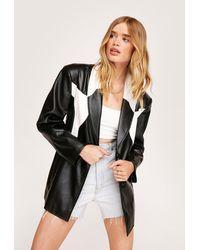 Nasty Gal Western Detail Oversized Faux Leather Blazer - Black