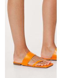 Nasty Gal Asymmetric Strap Square Toe Flat Sandals - Orange