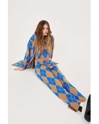 Nasty Gal Argyle Knit 3 Pc Cardigan Tank And Trousers Set - Blue