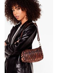 Nasty Gal Want Act Fierce Tiger Shoulder Bag - Brown
