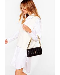 Nasty Gal Want Change My Mind Quilted Shoulder Bag - Black
