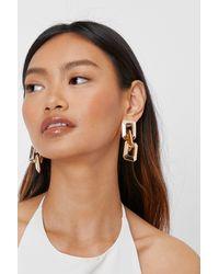 Nasty Gal Chunky Square Link Drop Earrings - Metallic
