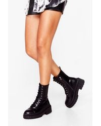 Nasty Gal Cleated Lace-up Boots - Black