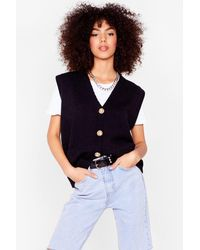 Nasty Gal Sleeve Me Out Of It Button-down Knitted Tank Top - Black