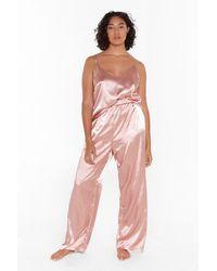 """Nasty Gal """"the Sleepover Club Plus Satin Pajama Set"""" - Pink"""