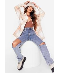 Nasty Gal - What The Check Oversized Petite Shirt Jacket - Lyst